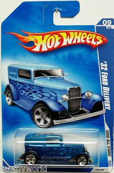 1932 Ford Delivery 2008 Hot Wheels #6/12 Blue w/Blue Flames Metal Body & Chassis