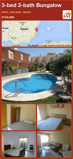 Bungalow for Sale in Albir, Alicante, Spain with 3 bedrooms, 3 bathrooms - A Spanish Life Bungalows For Sale, Alicante Spain, Nice View, Terrace, Spanish, Bathroom, Bed, Building, Outdoor Decor