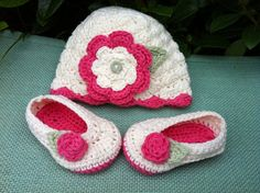 Crochet Matching Baby Girl Hat & Ballet Flat by BettyBoopCrochet, $35.00