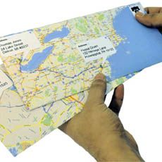 Google Maps Envelopes.  A blue line from their house to yours.