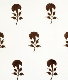 """Les Indiennes- #11 Carnation Pattern Dimensions: 5.25"""" x 3.25""""(13cm x 8cm) Vertical Repeat: 14"""" (36cm) Horizontal Repeat: 9.25"""", (23cm) Available in all colors: Indigo, Madder Red, Gold, French Grey, Olive and Chocolate- as shown)"""
