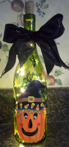 Hand Painted Halloween Lighted Wine Bottle by keepitsassydesigns, $25.00