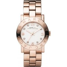 awesome Marc Jacobs Women's Quartz Watch with Grey Dial Analogue Display and Rose Gold Stainless Steel Bangle MBM3077