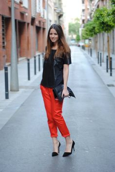 red trousers + leather top + black pumps