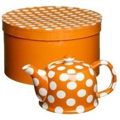 Orange and white polka dot teapot it! I love orange and polka dots. Color Naranja, Orange You Glad, Shoe Gallery, Connect The Dots, Orange Crush, Chocolate Pots, Happy Colors, My Favorite Color, Tea Set