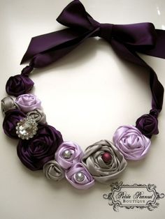 Items similar to Tiny GLAMOUR Couture Statement Necklace (Fits - Adult)- Plum Silver Gray Lavender - Custom Order - Wedding - Photo Prop on Etsy Jewelry Crafts, Jewelry Art, Women Jewelry, Geek Jewelry, Gothic Jewelry, Jewelry Necklaces, Textile Jewelry, Fabric Jewelry, Handmade Jewelry Designs