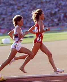 Zola Budd barefoot running 1984 Mary Decker Fell !!!  I Cried