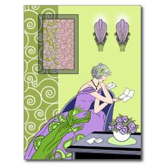 art deco post cards   Clarice's Letter - Art Deco Fashion Design Post Cards at Zazzle.ca