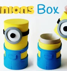 DIY craft foam minion boxes from toilet paper tubes // Minyonos dobozok wc papír gurigából ( dekorgumival ) // Mindy - craft tutorial collection