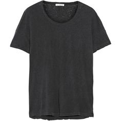 James Perse Linen and cotton-blend jersey T-shirt (1 375 SEK) ❤ liked on Polyvore featuring tops, t-shirts, grey, layered tops, james perse, james perse t shirts, linen tops and loose fit tops