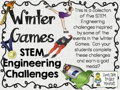 STEM Engineering Challenge Pack ~ The Winter Games Challenges  $  Bobsled Race Challenge Miniature Hockey Rink Challenge Clothespin Ski Jumper Challenge Working Curling Rink Challenge Marble Luge Track Challenge