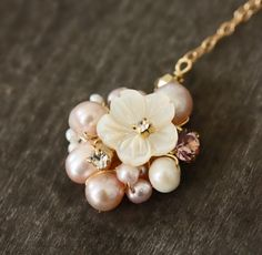 Little Mother of Pearl Flower and Rhinestone Cluster Pendant Necklace