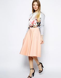 ASOS Full Midi Skirt In Scuba With Pockets