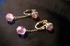 Vintage Pink Givre Glass Dangling Earrings by JewelsAndMyGirls3, $12.50