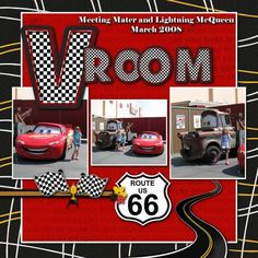 DISNEY SCRAPBOOK - cars page to use with stunt show