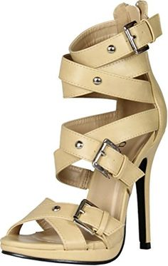 Machi Womens Cosmo2 Buckle Cris Cross Zipper Strappy Sandal Stiletto High HeelsNude10 -- You can get more details by clicking on the image.(This is an Amazon affiliate link and I receive a commission for the sales)