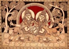 Kalamkari Paintings (Andhra Pradesh)- Goddess Saraswathi with Goddess Lakshmi Indian Traditional Paintings, Indian Art Paintings, Traditional Art, Mural Painting, Acrylic Painting Canvas, Fabric Painting, Madhubani Art, Madhubani Painting, Kalamkari Painting
