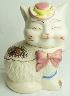 McCoy Fancy Fish Pink Hat Floral Cat Ceramic Cookie Jar