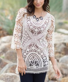 Pinkblush Ivory Semi-Sheer Crochet Top | zulily