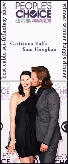 Caitriona Balfe and Sam Heighan from Outlander at the 2015 People's Choice Award Bookmark
