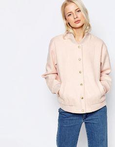 Pink | Ganni Inglewood Pink Bomber Jacket at ASOS