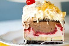 A dreamy slice of banana split ice cream cake by Brown Eyed Baker on Flickr.