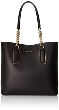 Calvin Klein Smooth Leather Chain Tote Bag, Black, One Size >>> READ REVIEW @: http://www.passion-4fashion.com/handbags/calvin-klein-smooth-leather-chain-tote-bag-black-one-size/