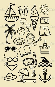 52 Ideas For Palm Tree Illustration Design Beaches Doodle Drawings, Easy Drawings, Doodle Art, Sun Doodles, Simple Doodles, Summer Season Drawing, Beach Icon, Summer Drawings, Beach Drawing