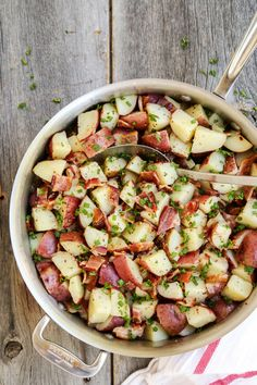 German Potato Salad...served warm, with a tangy vinegar-mustard dressing and bites of thick-cut bacon. From @farmgirlsdabble