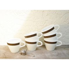 Vintage Pyrex Ebony Coffee Cups Fleur de Lys Pattern, Pyrex Ebony Tea... ($24) ❤ liked on Polyvore featuring home, kitchen & dining and drinkware