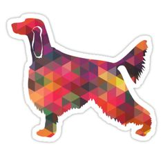 Irish Setter Dog Breed Geometric Pattern Silhouette – Multi • Also buy this artwork on stickers, apparel, phone cases, and more.