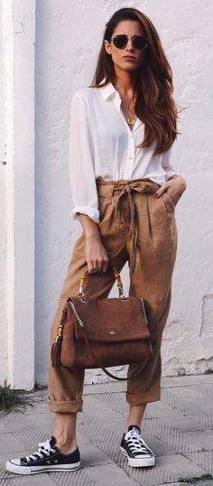 high waist camel white shirt | keeping it simple