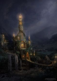 Wizards Tower. Night by *NM-art on deviantART