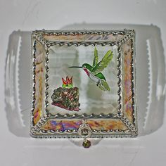 Etched Hand Painted Hummingbird Lt Burgundy 4x4