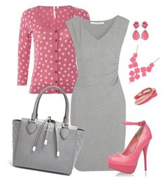 """""""Pink and Gray"""" by alecias ❤ liked on Polyvore featuring White Stuff, Diane Von Furstenberg, Michael Kors, SHOUROUK, Kate Spade, Fendi, Pink, PolkaDots, dress and cardigan"""