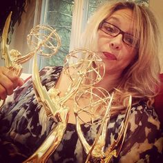 Watched the #Emmys2016 with my family surrounded by my mother #EarthaKitt's Emmy's.