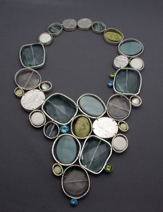 """'Glacial Pools' necklace by Francine Walker ... Sterling silver, aquamarine, amazonite, quartz, yellow turquoise, lime jade, white agate, blue topaz, peridot, fresh water pearl ... I like how some of the """"stones"""" are bezel backs..."""