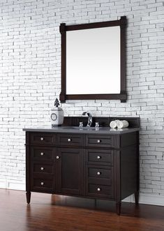 Contemporary 48 inch Single Bathroom Vanity Burnished Mahogany Finish, http://www.listvanities.com/transitional-bathroom-vanity.html No Top features classic details with bridge both Traditional and Transitional styles. This beautiful piece of furniture includes one hide-away tip out, top row drawer plus two full-depth side drawers, one of which is double-height for storage of taller items.