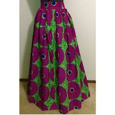Ethnic African Ankara Long Skirt With Invisible Pockets ($110) ❤ liked on Polyvore featuring skirts, dark olive, women's clothing, army green maxi skirt, purple maxi skirt, maxi skirt, long purple skirt y african print maxi skirt