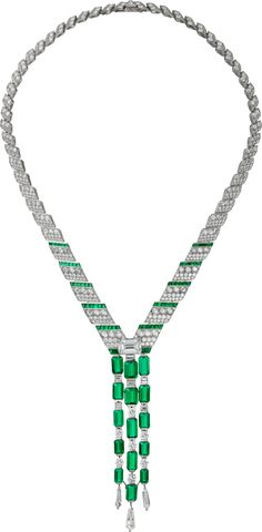CARTIER. Necklace - platinum, 15 emerald-cut emeralds from Afghanistan totaling 24.57 carats, one 5.53-carat F VVS1 emerald-cut diamond, calibrated emeralds, kite-shaped diamonds, baguette-cut diamonds, rose-cut diamonds, brilliant-cut diamonds. #Cartier #RésonancesDeCartier #2017 #HauteJoaillerie #HighJewellery #FineJewelry #Emerald #Diamond
