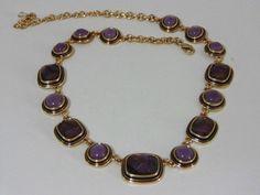 Beautiful Signed NAPIER Purple Lavender Iridescent Stone Link Style Necklace #Napier