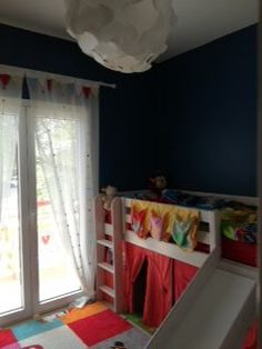 Benjamin Moore Prussian Blue, Flexa high bed with slide, paw patrol sheets