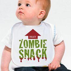 Personalized Zombie Snack Halloween Baby Bibs