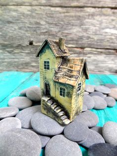 Miniature house The old yellow haunted house by theCherryHeart