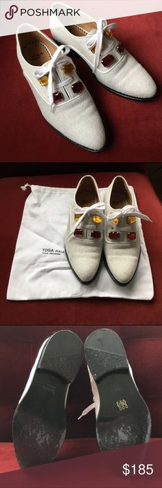 Toga Pulla Genuine Calf Hair Embellished Oxfords Super cool embellished oxfords with leather pipping & jewel details. White is a big trend and these are a must! Bought spring2016. Worn once only-Made in Portugal. No box, only dust bag. Fits a size 10. Toga Shoes Flats & Loafers