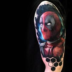 Discover the craziest of all superheroes with the top 77 best Deadpool tattoo designs for men. Explore masculine ink ideas and body art inspiration. Deadpool Tattoo, Arm Tattoos, Tattos, Marvel Tattoos, All Superheroes, Tattoo Designs Men, Live Action, Honeycomb, Body Art