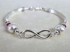Coral Jewelry, Wire Jewelry, Beaded Jewelry, Seed Bead Bracelets Diy, Beaded Bracelets, Infinity Jewelry, Infinity Bracelets, Bridal Party Jewelry, Pandora