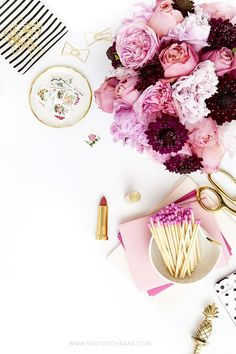 Pink peonies, garden roses, floral, gold, black and white stripe styled desktop stock photography by Shay Cochrane