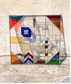 The Geometric Tiffany Style Abstract Stained Glass Window Panel Colored Marbles