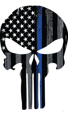 Thin Blue Line Punisher Skull Decal by ANGPrintingAndDesign